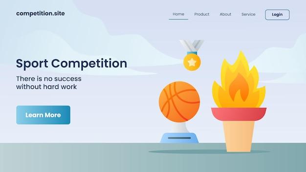 Goldene medaille, trophäe und ewiges feuer für sportwettbewerbe mit slogan gibt es keinen erfolg ohne harte arbeit für die homepage-vektorillustration der website-vorlage