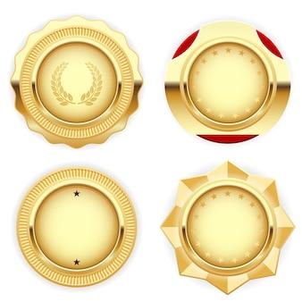Goldene medaille und emblem (abzeichen) - gezahnt und rund