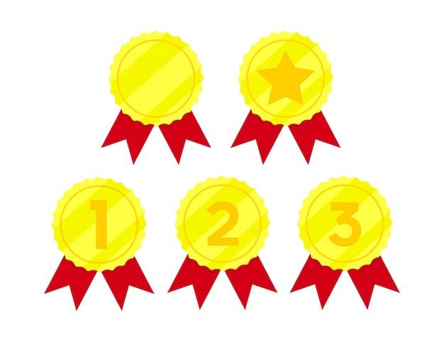 Goldene medaillen, auszeichnung für den ersten platz