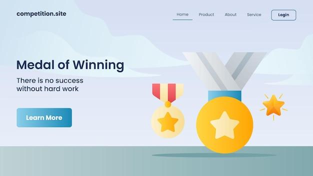 Goldene medaillen für siegermedaillen mit slogan es gibt keinen erfolg ohne harte arbeit für die website-vorlage, die homepage-vektorillustration landet