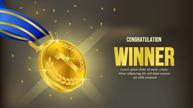 Goldene medaillengewinner-mitteilungsfahne
