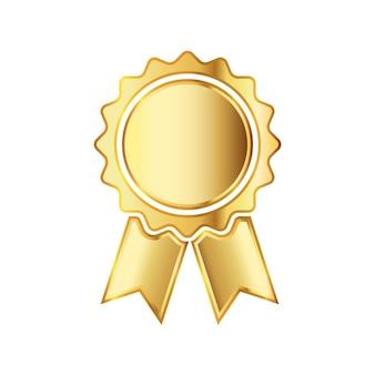 Goldene medaillenikone mit band. vektorillustration.