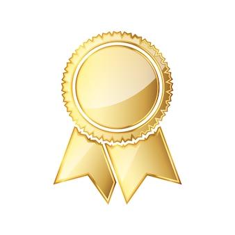 Goldene medaillensymbol mit band lokalisiert auf weiß
