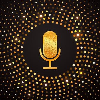 Goldene mikrofonikone auf abstraktem goldhalbtonkreis. glänzende luxusfahne der karaoke-partei.