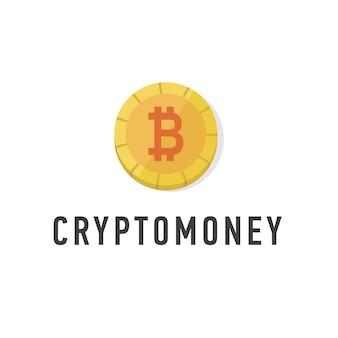 Goldene münze mit bitcoinzeichen flach. web-geld-symbol.
