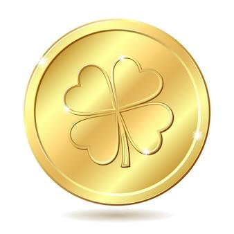 Goldene münze mit klee.