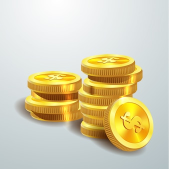 Goldene münzen auf grau