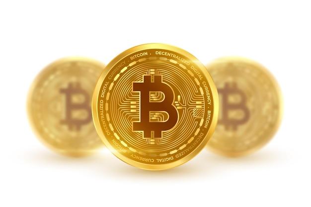 Goldene münzen der kryptowährung bitcoin lokalisiert auf weiß
