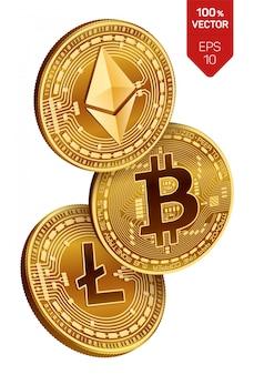 Goldene münzen der kryptowährung mit bitcoin-, litecoin- und ethereum-symbol auf weißem hintergrund.