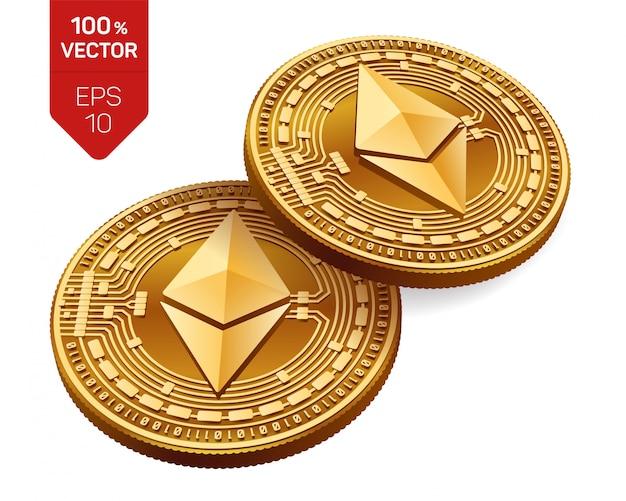 Goldene münzen der kryptowährung mit ethereum-symbol lokalisiert auf weißem hintergrund.