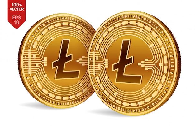 Goldene münzen der kryptowährung mit litecoin-symbol lokalisiert auf weißem hintergrund.