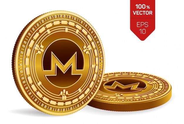 Goldene münzen der kryptowährung mit monero-symbol lokalisiert auf weißem hintergrund.