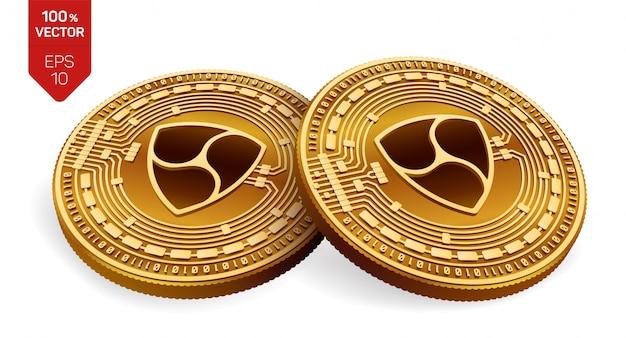 Goldene münzen der kryptowährung mit nem symbol lokalisiert auf weißem hintergrund.