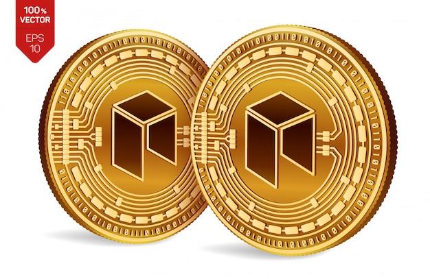 Goldene münzen der kryptowährung mit neosymbol lokalisiert auf weißem hintergrund.