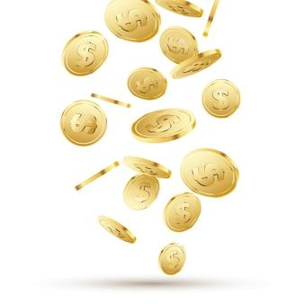 Goldene münzen fallen auf weiß. hintergrund hintergrundkonzept des isolierten geldes 3d goldgeld für geschäft