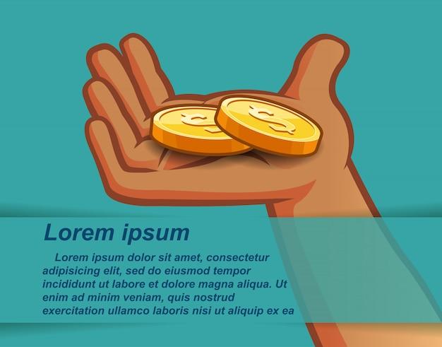 Goldene münzen in der hand auf hintergrund des blauen grüns.