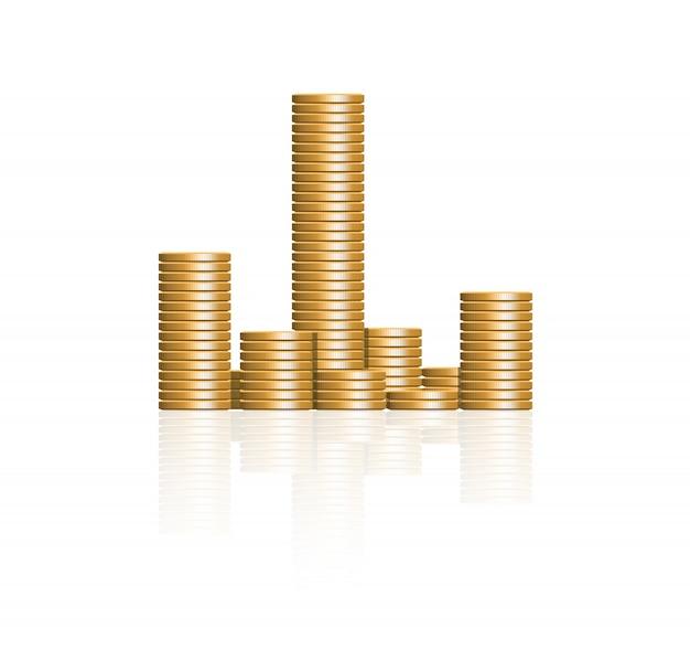 Goldene münzen vektor. goldreserve