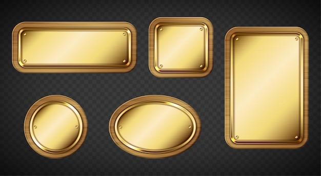 Goldene namensschilder mit holzrahmen und transparenten schrauben
