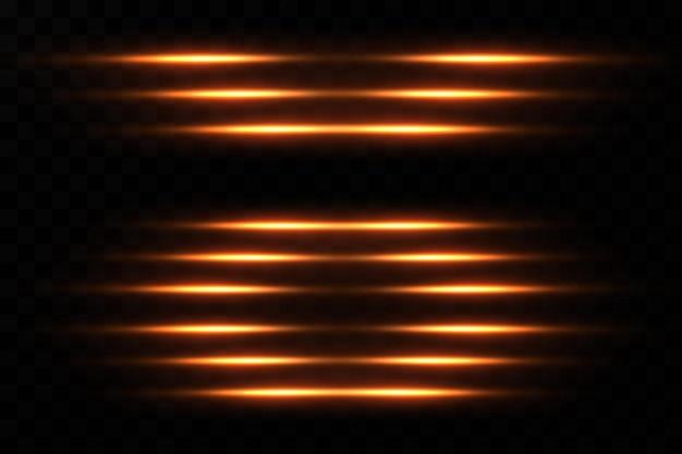 Goldene neonlinie isoliert auf schwarz