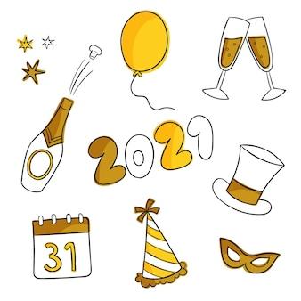 Goldene neujahrspartyelemente und champagner
