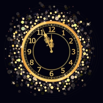 Goldene neujahrsuhr