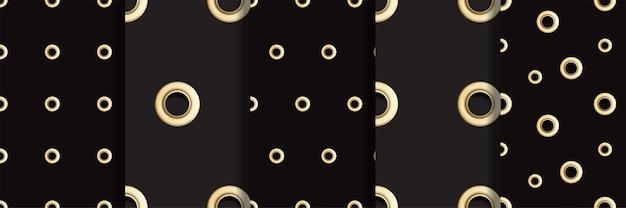 Goldene öse nahtlose muster gesetzt metall-tupfen mit lochimitation