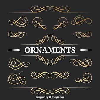 Goldene ornamente packen