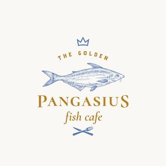 Goldene pangasius abstrakte zeichen-, symbol- oder logo-schablone.