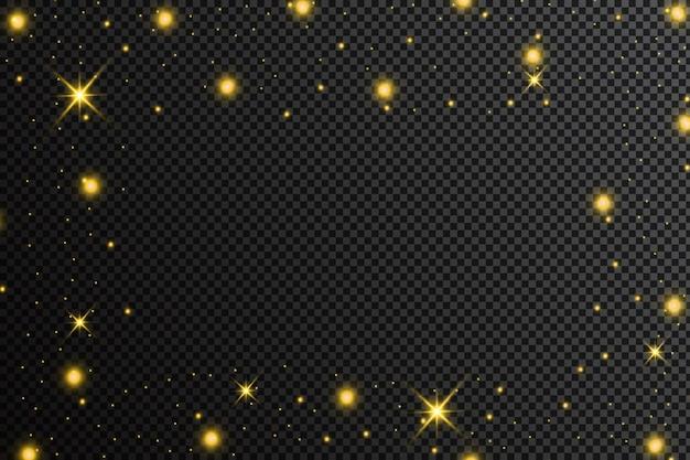 Goldene partikel. glühender gelber bokeh kreist abstrakten goldenen luxushintergrund ein