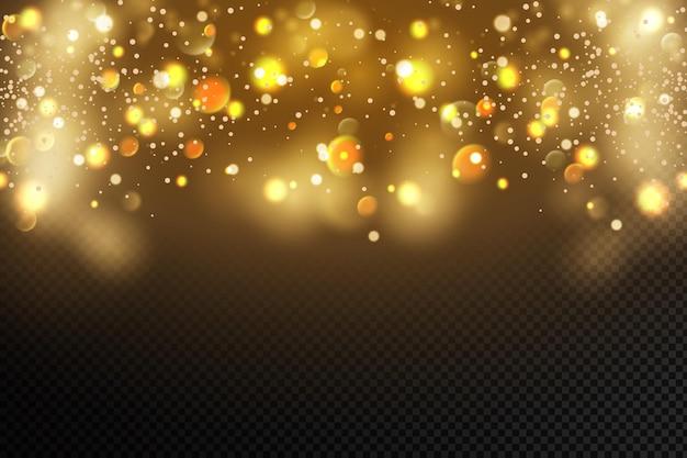 Goldene partikel glühendes gelbes bokeh kreist abstrakten goldluxuxhintergrund ein