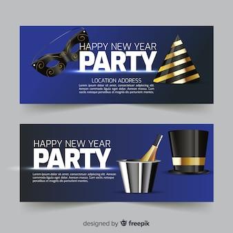 Goldene party-fahne des neuen jahres