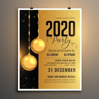 Goldene partyfliegerschablone des neuen jahres 2020