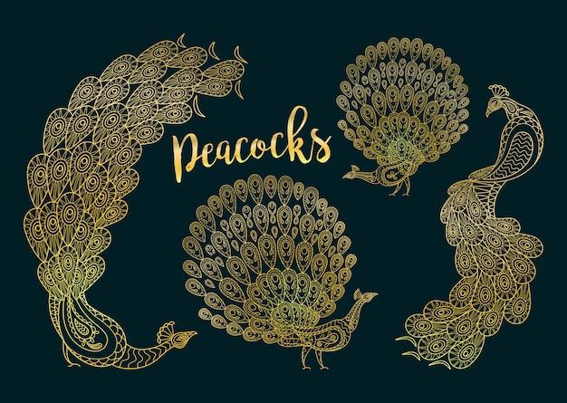 Goldene pfauen eingestellt auf dunkles turqiouse