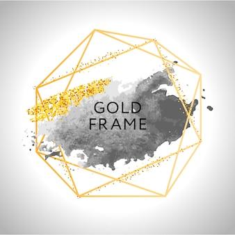 Goldene pinselstriche und flecken im goldrahmen
