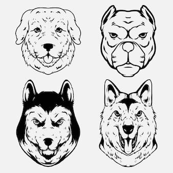 Goldene pitbull- und huskey-designillustration