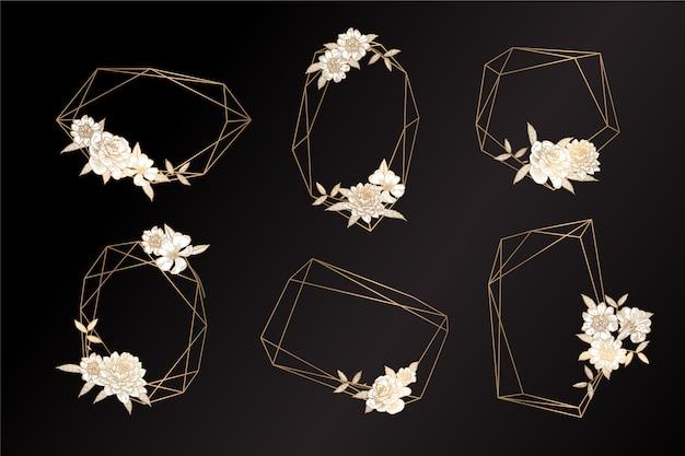 Goldene polygonale felder mit den eleganten blumen eingestellt