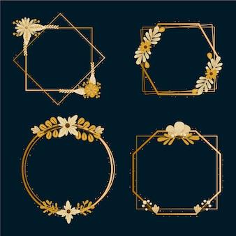 Goldene polygonale felder mit eleganten blumen