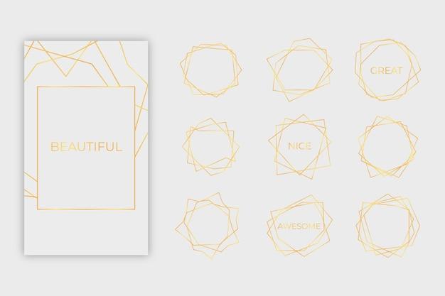 Goldene polygonale rahmensammlung