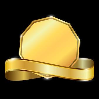 Goldene premium promo banner auf schwarzem hintergrund isoliert