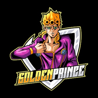 Goldene prinz maskottchen logo vorlage