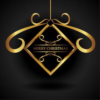 Goldene quadratische weihnachtsverzierung