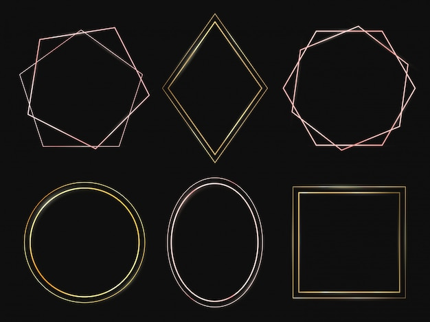 Goldene rahmen. roségold-rahmen, hochwertige minimalistische dünne ränder und reiches kreisset