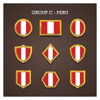 Goldene rahmenabzeichen mit weltcuplandflaggen - peru
