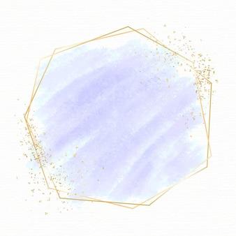 Goldene rahmenschablone mit pastellaquarell