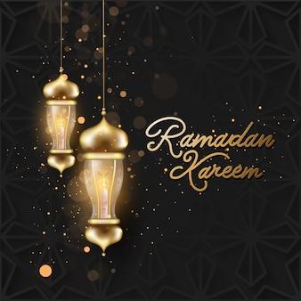 Goldene ramadan kareem schriftart mit hängenden beleuchteten laternen und bokeh lichteffekt