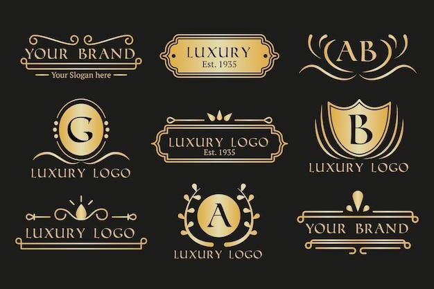 Goldene retro- logosammlung des restaurantkaffees