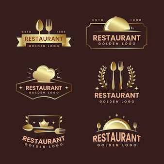 Goldene retro- restaurantlogosammlung