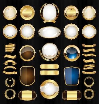Goldene retro- verkaufsausweise und aufklebersammlung