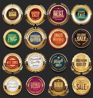 Goldene retro vintage abzeichen und etiketten