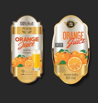 Goldene retro-vintage-etiketten für bio-obstprodukte